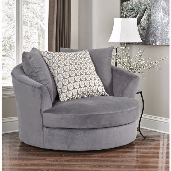 Abbyson Tanya Grey Fabric Round Swivel Chair  Furniture Pinterest