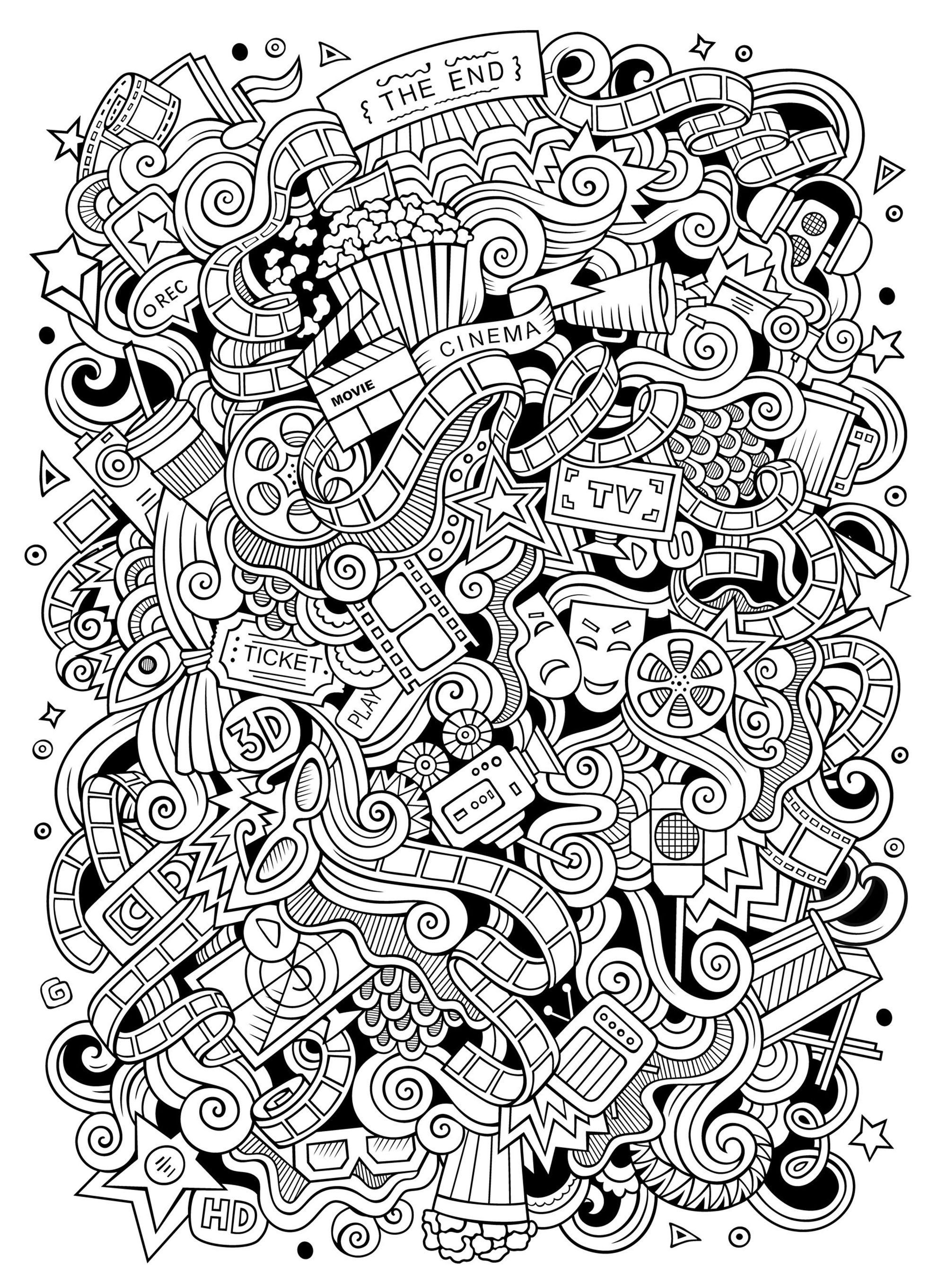 Cinema Doodle Doodle Art Doodling Coloring Pages For Adults