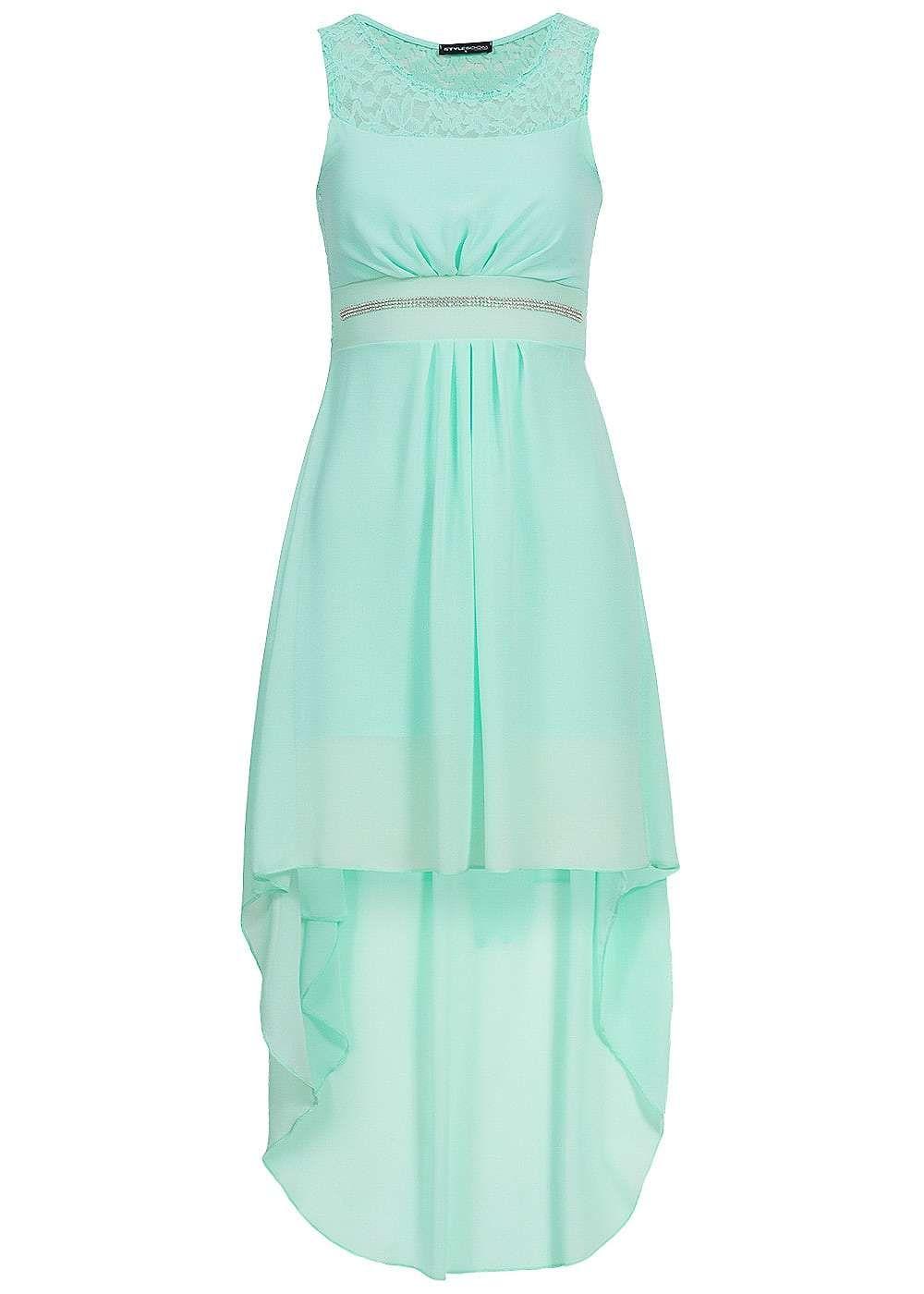 Kleid aus spitze und chiffon