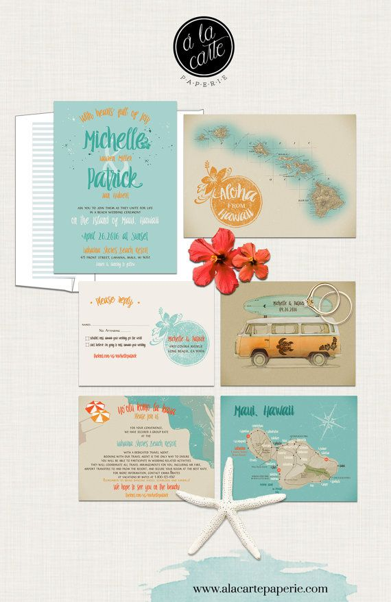 Hawaii Wedding Invitation Maui Wedding Retro