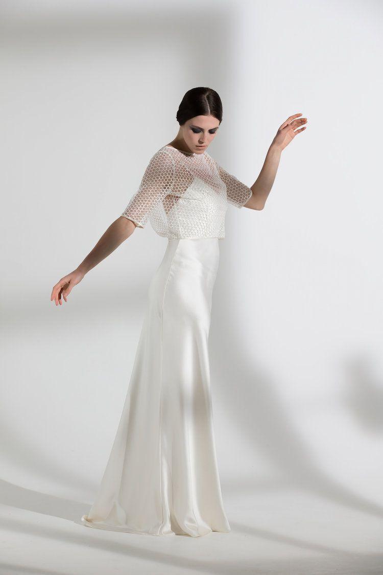 Wedding dress slip  HONEYSUCKLE JACKET u IRIS SLIP  WEDDING DRESS BY HALFPENNY LONDON