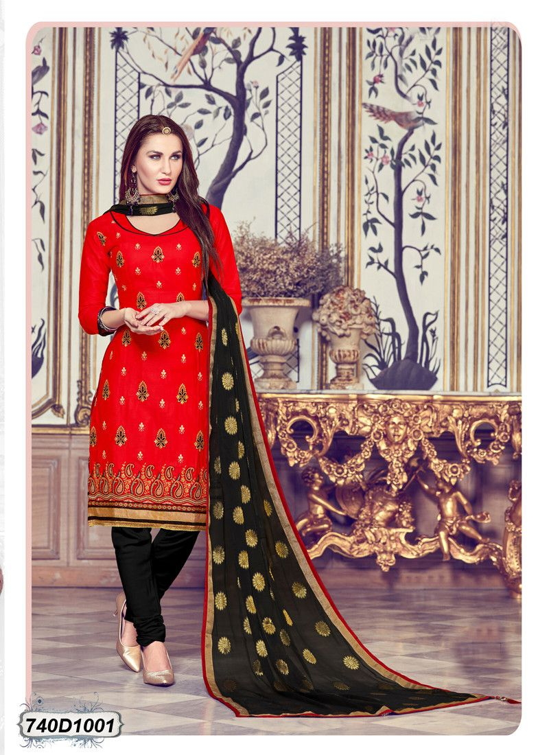 Buy online red with black color designer zari thread embroidery