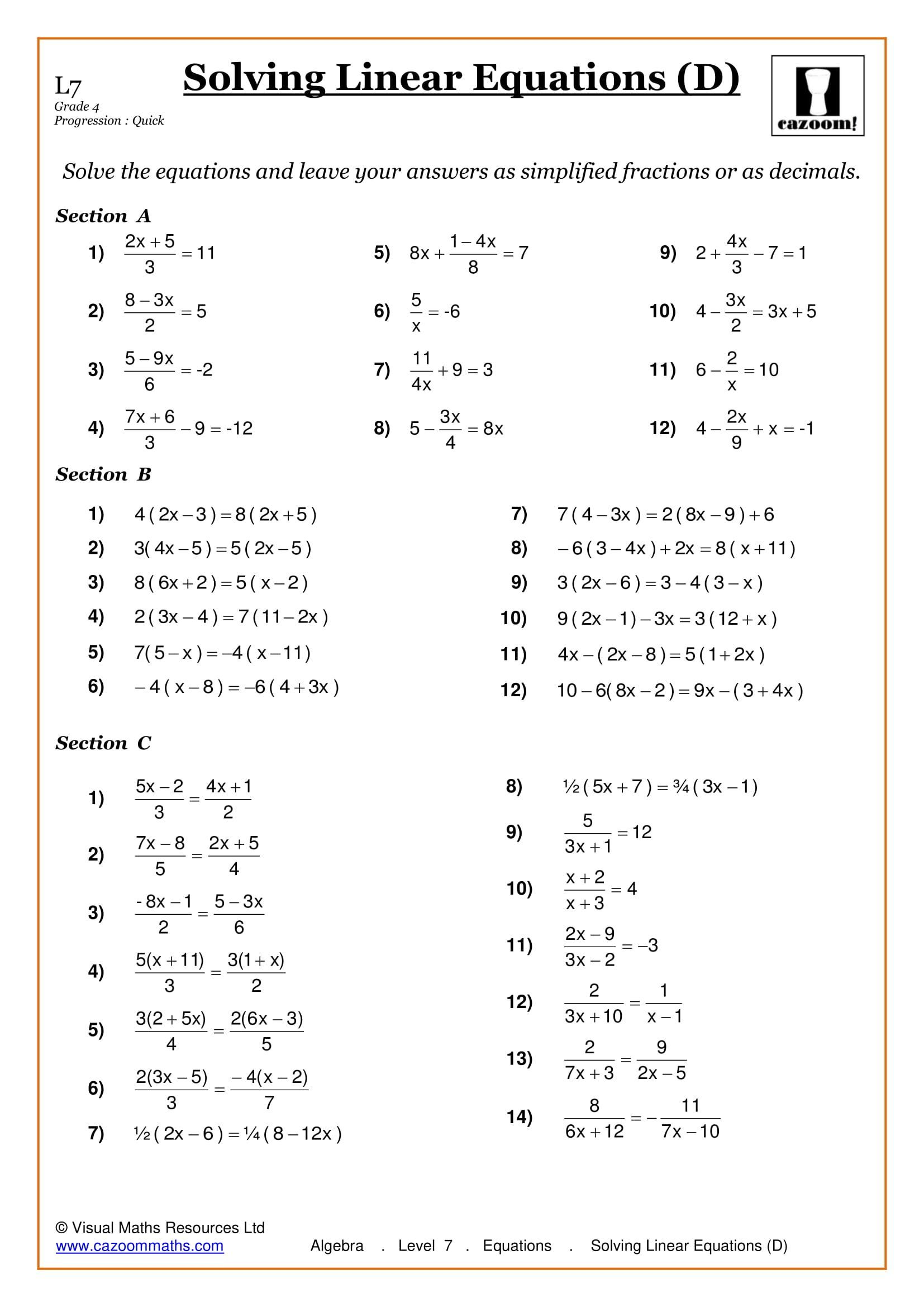 4 Grade 7 Algebra Worksheets In