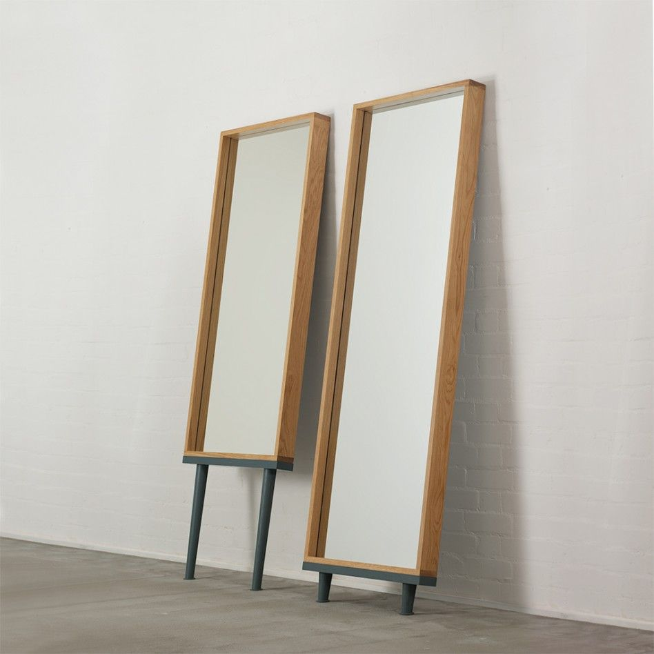 Modern floor standing mirrors on legs in oak short legs for Long floor mirror