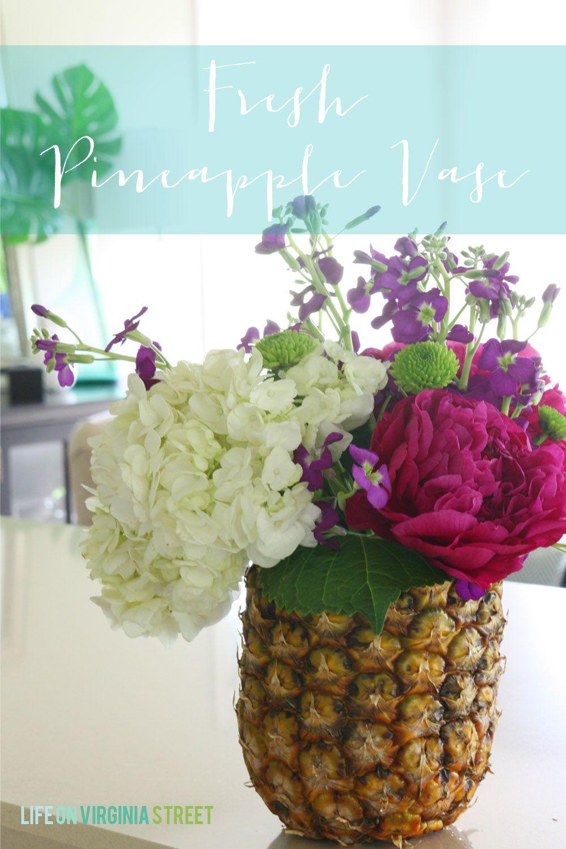 Diy fresh pineapple vase tutorial pineapple vase flower