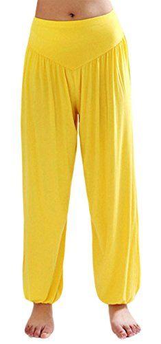 c505b67918 AvaCostume Womens Modal Cotton Soft Yoga Sports Dance Harem Pants, M,  Yellow AvaCostume http