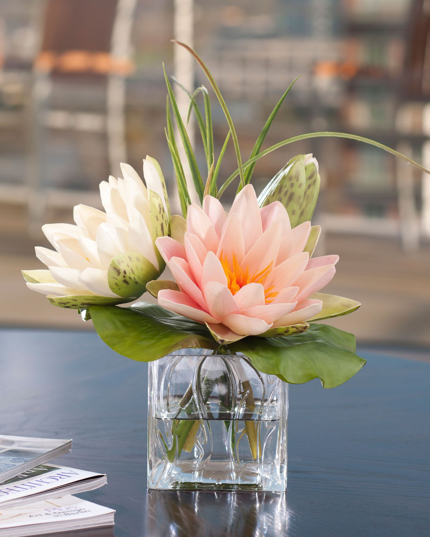 Lotus Blossom Lily Padsilk Flower Arrangement Wedding