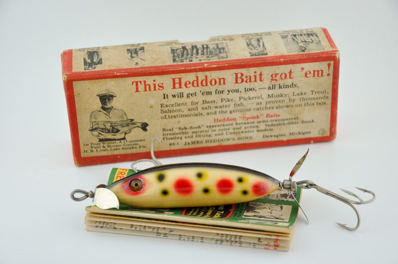 Heddon SOS 160 Lure Strawberry Spot - http://www.finandflame.com/heddon-sos-160-lure-strawberry-spot/ - #AntiqueLure, #Fishing, #HeddonSOS160, #Lure, #Minnow, #StrawberrySpot - Heddon SOS 160 Lure Strawberry Spot The Heddon SOS 160 Lure was first introduced in 1928. This antique lure made by the Heddon Lure Company out of Dowagiac Michigan was one of the mid sized SOS or Swims on Sides lure made by the company. This wooden, glass eyed lure was made to mimic a wounded...