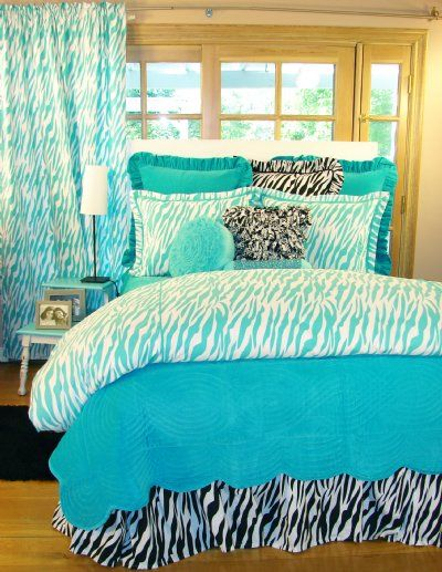 tween teen bedding turquoise zebra teen bedding collection sweet and sour kids preteen. Black Bedroom Furniture Sets. Home Design Ideas