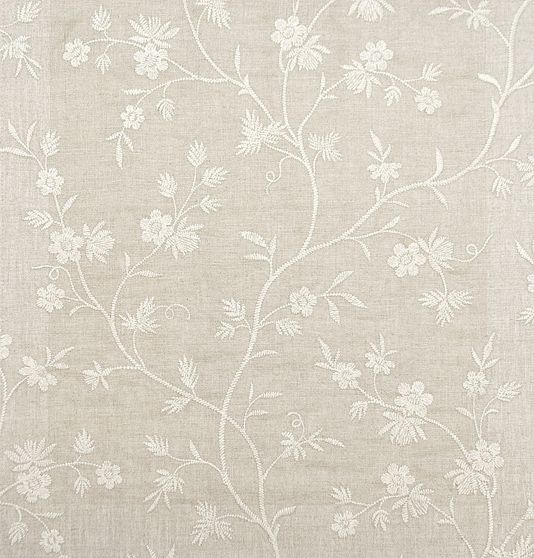 Neutral Linen Curtain Fabric With Embroidered Ivory Floral ...