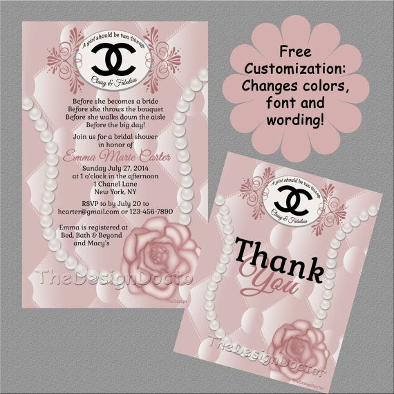 Custom hand drawn classy and fabulous pink coco chanel designer custom hand drawn classy and fabulous pink coco chanel designer bridal shower invitation and thank you filmwisefo