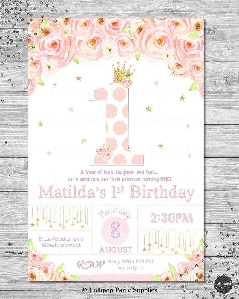1ST BIRTHDAY PRINCESS INVITATION INVITE FIRST INVITE GIRL FLORAL ...