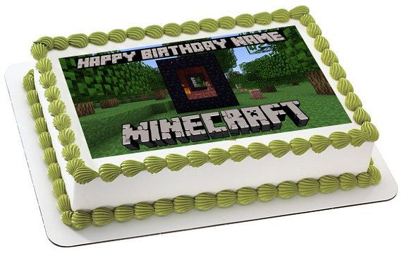 Minecraft Personalized edible image cake topper by trEATmeCards