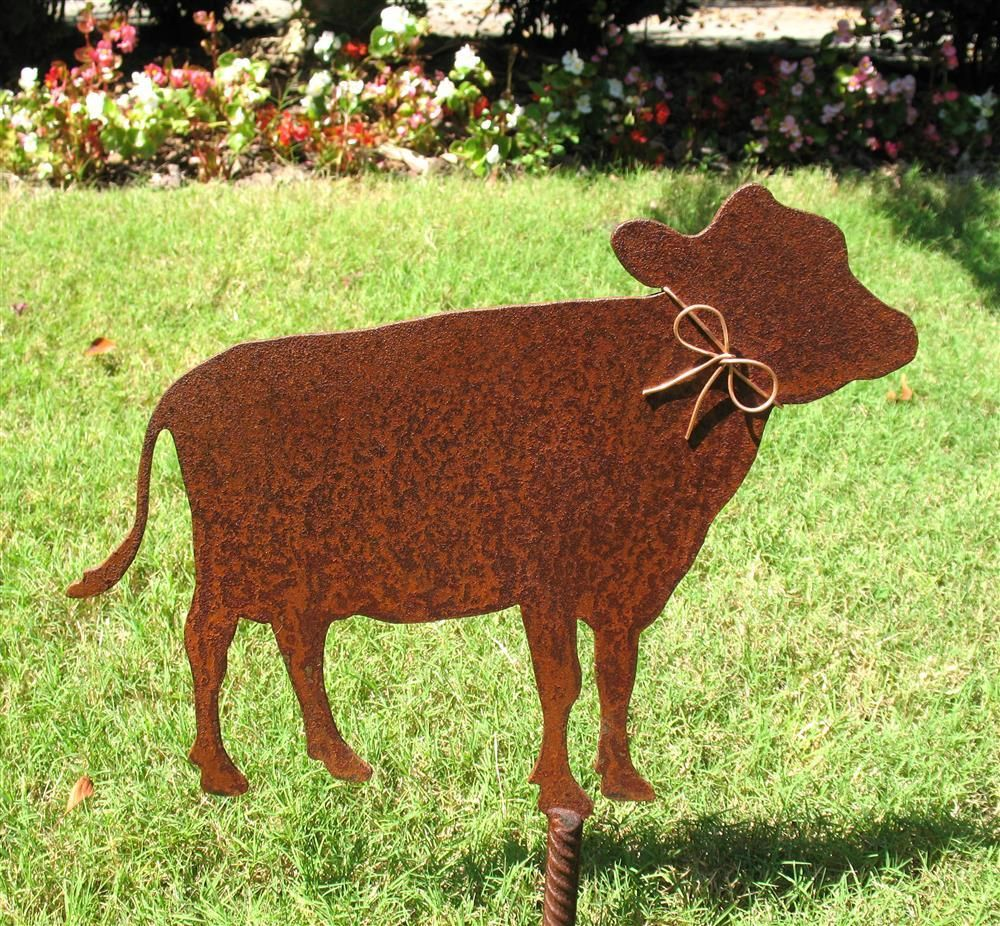 Rustic Cow Outdoor Metal Shadow Silhouette Garden  Stake