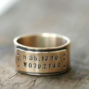 14k Gold Latitude and Longitude Wedding Ring by monkeys always look