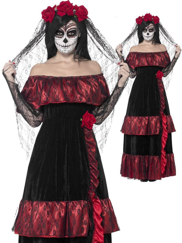 Ladies Day Of The Dead Bride Halloween Fancy Dress Costume Outfit