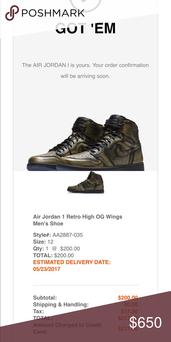 reputable site d78f9 93d5c Air Jordan 1 wings limits DS size 12 with receipt 100% authentic brand new  air Jordan 1 retro wings limits 19400 Paris all the world, size 12 with  receipt, ...