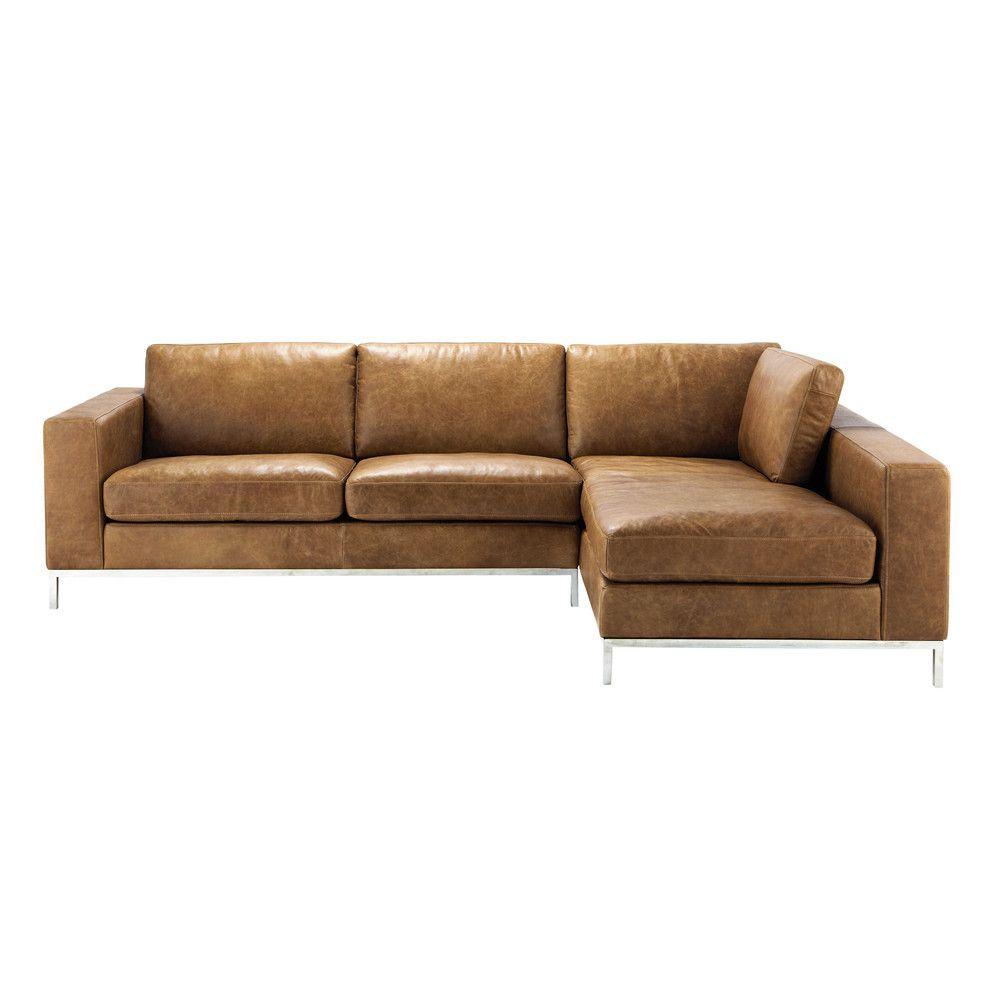 Canapé d\'angle vintage 4 places en cuir camel | interieur sandra en ...