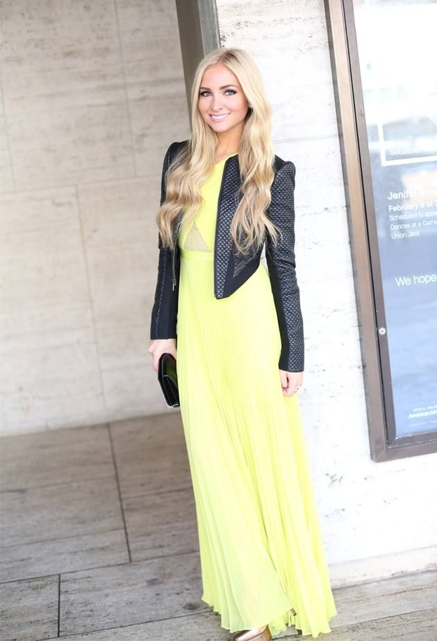 Yellow pleated maxi dress, and leather jacket. | Fashion ...
