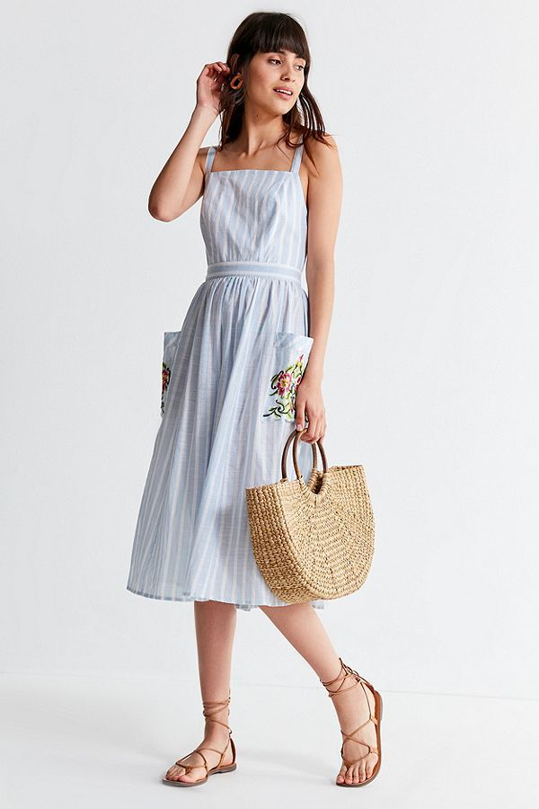 e1f1865275 Slide View: 1: UO Elle Embroidered Pocket Striped Midi Dress | Style ...