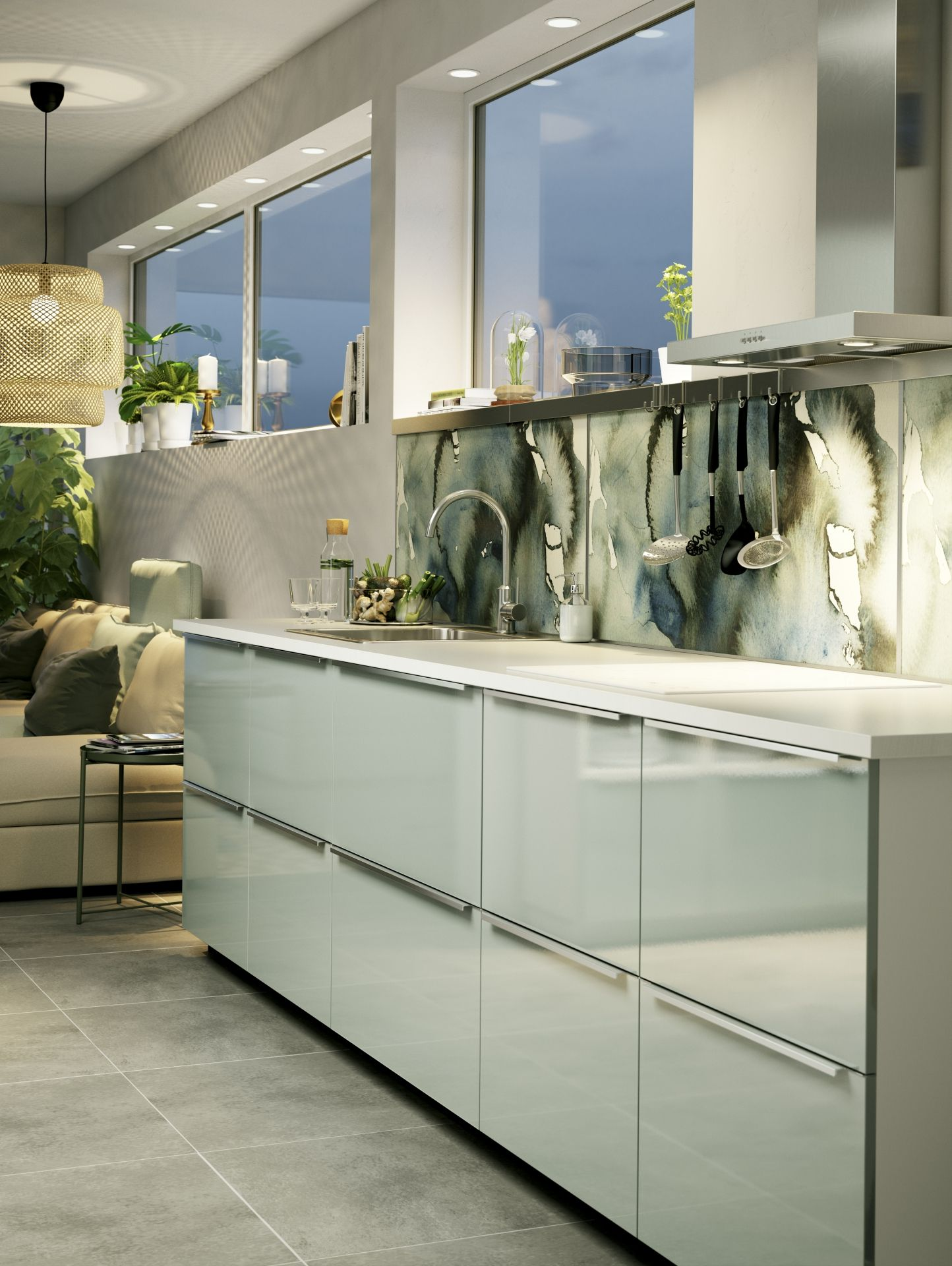 Kallarp ladefront hoogglans lichtgroen kitchen colors for Cuisine kallarp