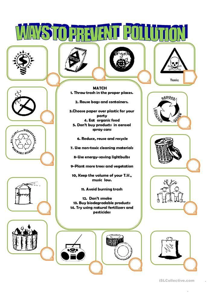 How To Prevent Pollution Worksheets Pinterest Worksheets