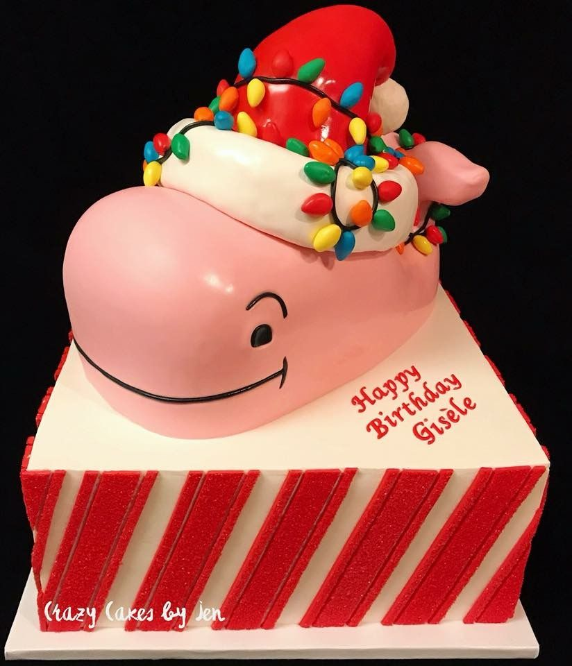 Vineyard Vines Cake Whale Christmas Theme Candy Cane Sand Sugar Tier Square Sculpted Birthday Fondant Work All Edible