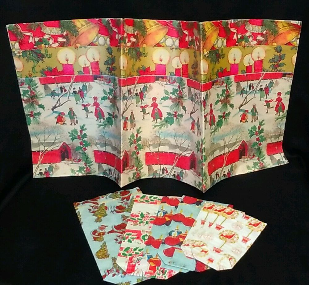 Lot VTG 3 Christmas Gift Flat Wrap Wrapping Paper Sheets
