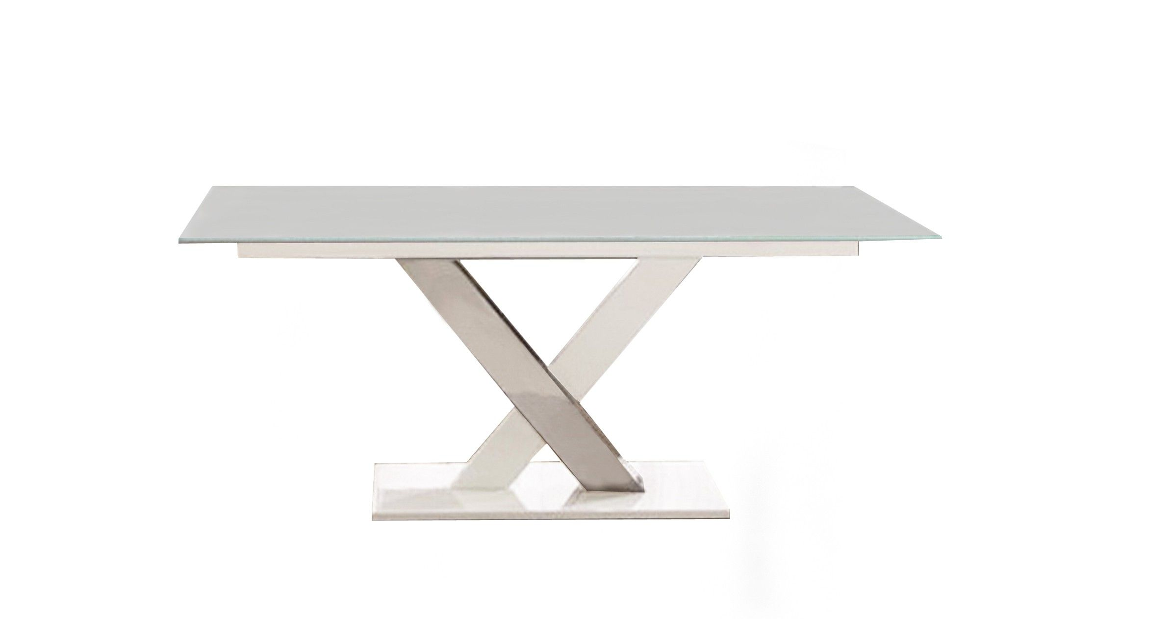 Cyrus Dining Table With White Glass By Bellini Modern Cyrus Dt
