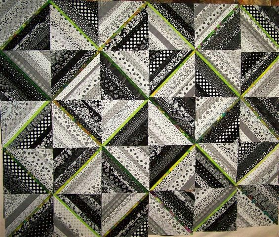 Black, White & Lime Green String Quilt | White quilts, Patterns ... : string quilts patterns - Adamdwight.com