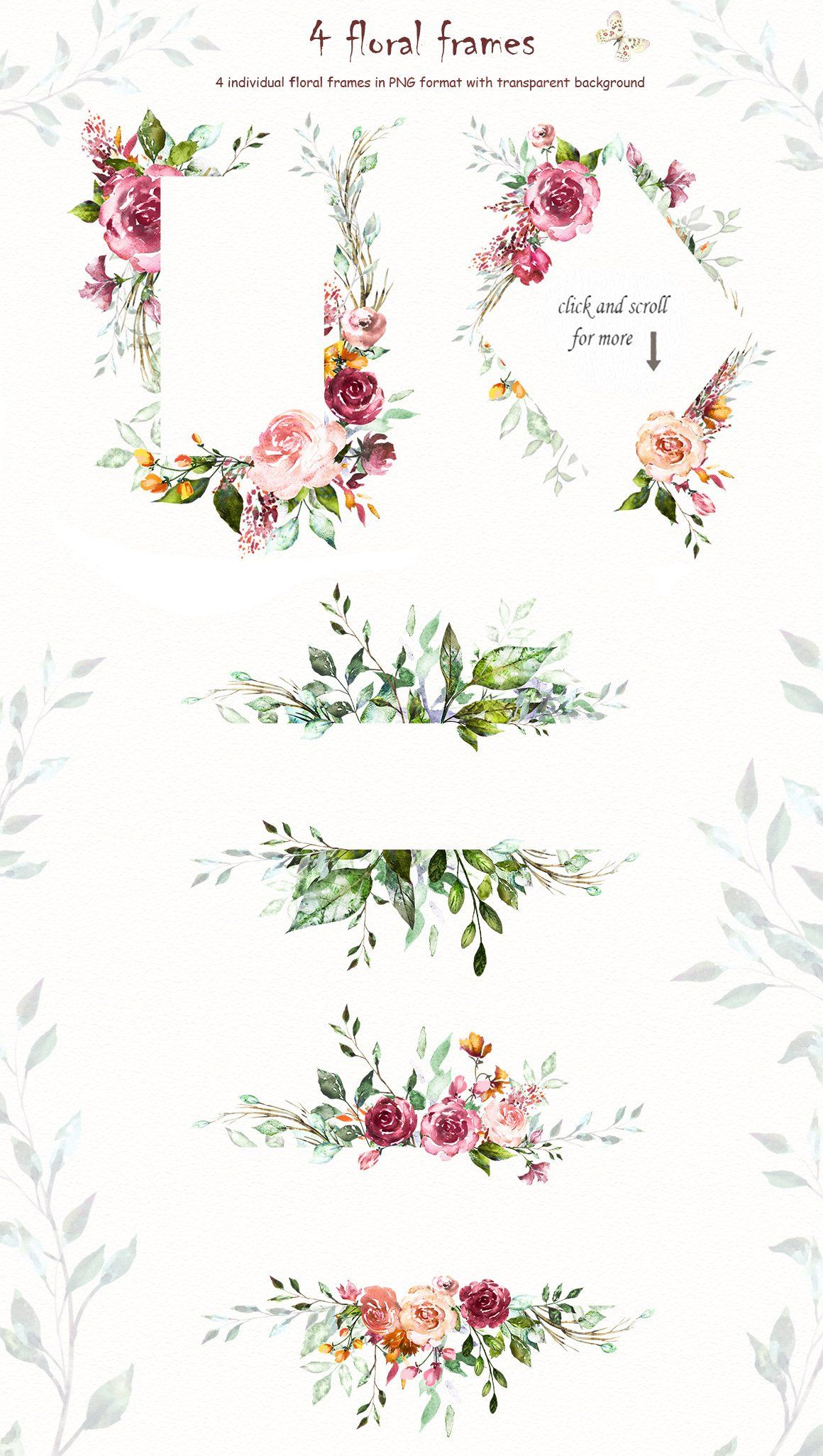 Watercolor Flower Clipart Design Set Flower Clipart Watercolor Flowers Flower Frame