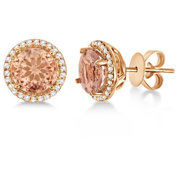 Allurez 14kt Rose Gold Cushion Morganite & Round Diamond Hook Earrings oHMrpo
