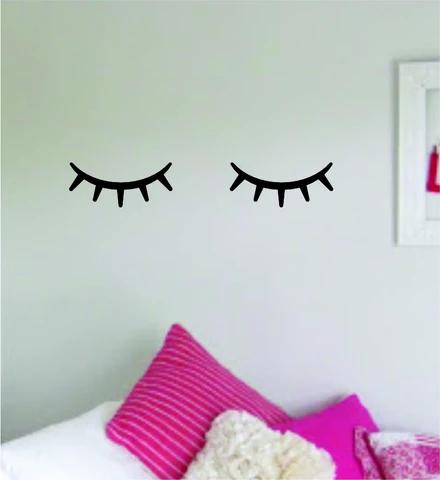 Photo of Eyelashes v7 Wall Decal Home Decor Art Sticker Vinyl Room Bedroom Kids Teen Baby Nursery Girls Eyelashes Brows Make Up Beauty