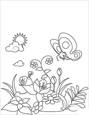 Ausmalbild Fruhling Schmetterling Und Blumen Ausmalbilder Fruhling Ausmalbilder Malvorlagen Fruhling