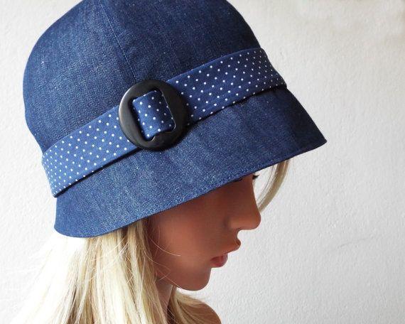 Elegant-20s-cloche-twenties-Cloche-hat-sewn-jeans-dots-dots-blue ...