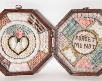 """19th Century Double Sailor's Valentine """"Forget Me Not"""""""