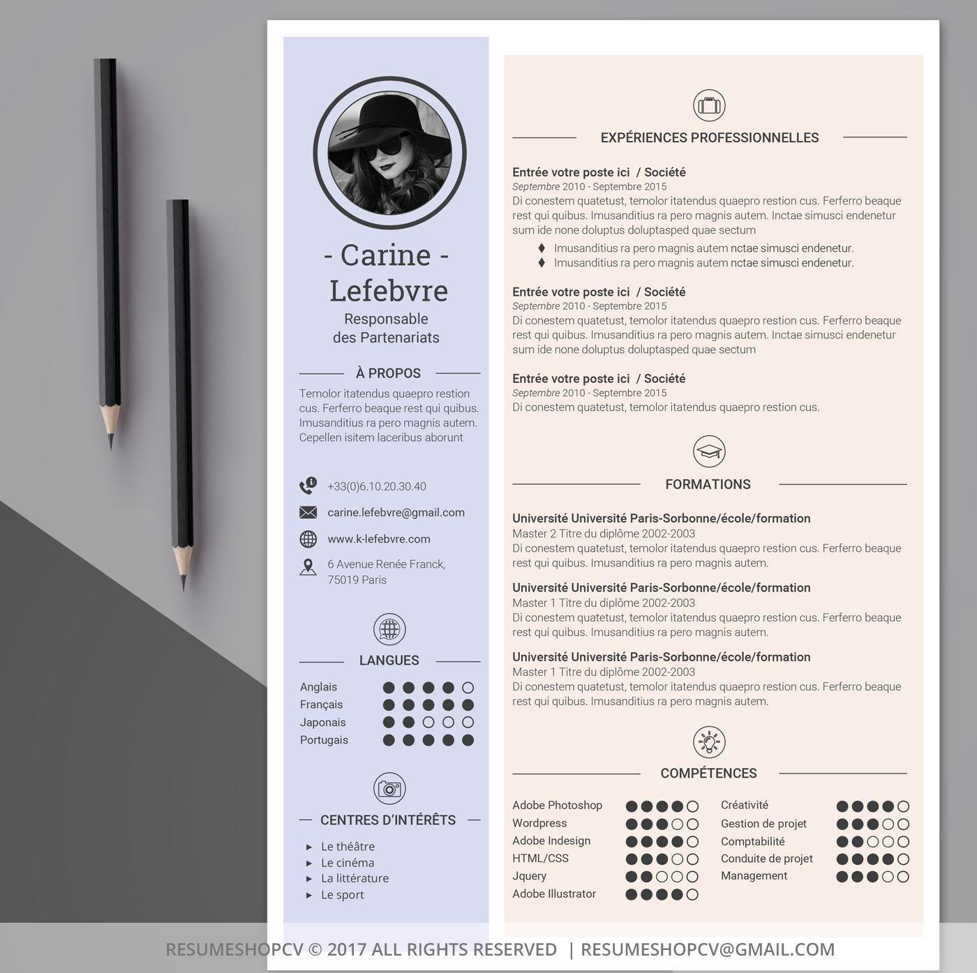 4 Cv Curriculum Vitae Professionnel Moderne Et Graphique Etsy Cv Curriculum Vitae Modele Lettre De Motivation Curriculum Vitae