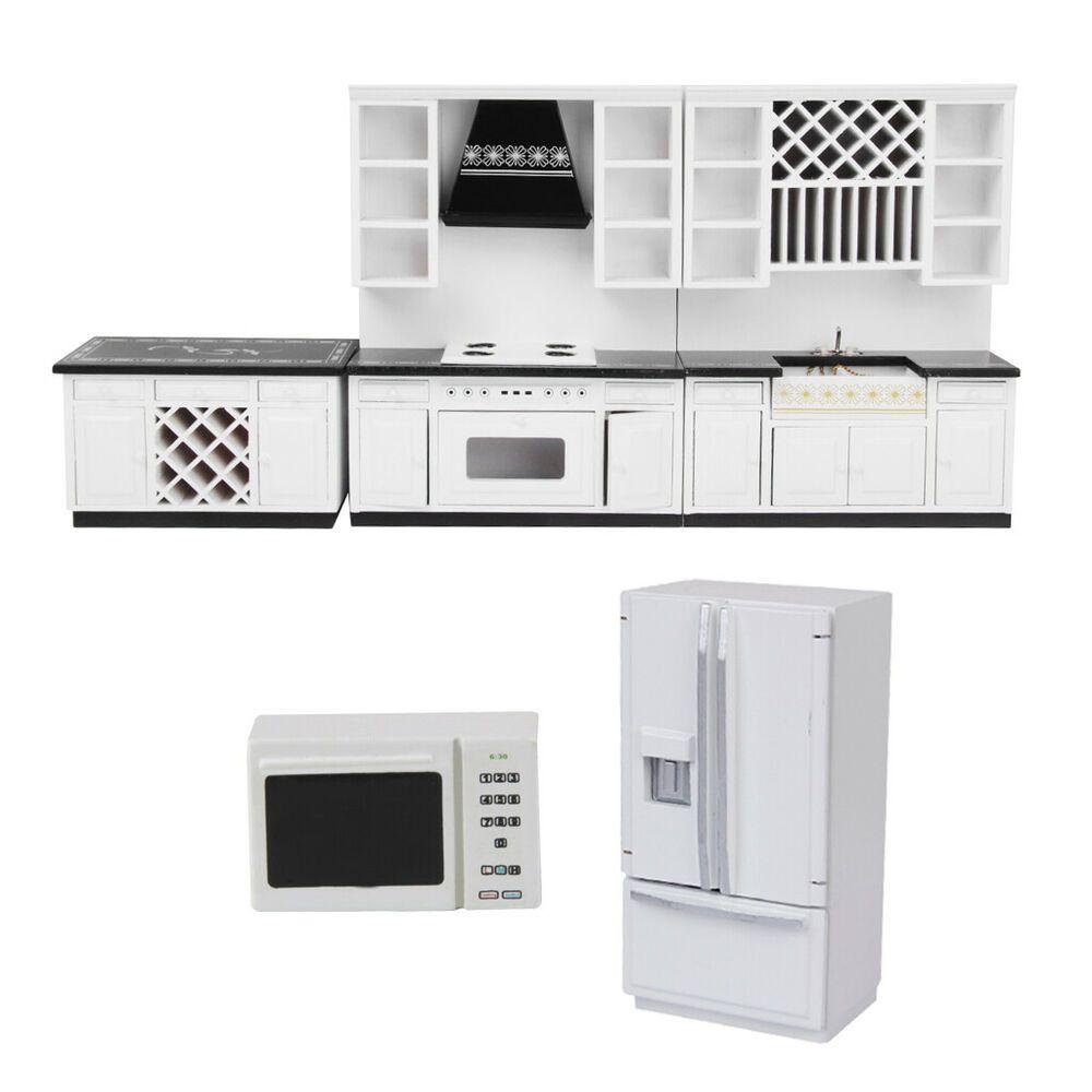 1:12 DollHouse Miniatures Furniture Decor Fridge Refrigerator Microwave Oven
