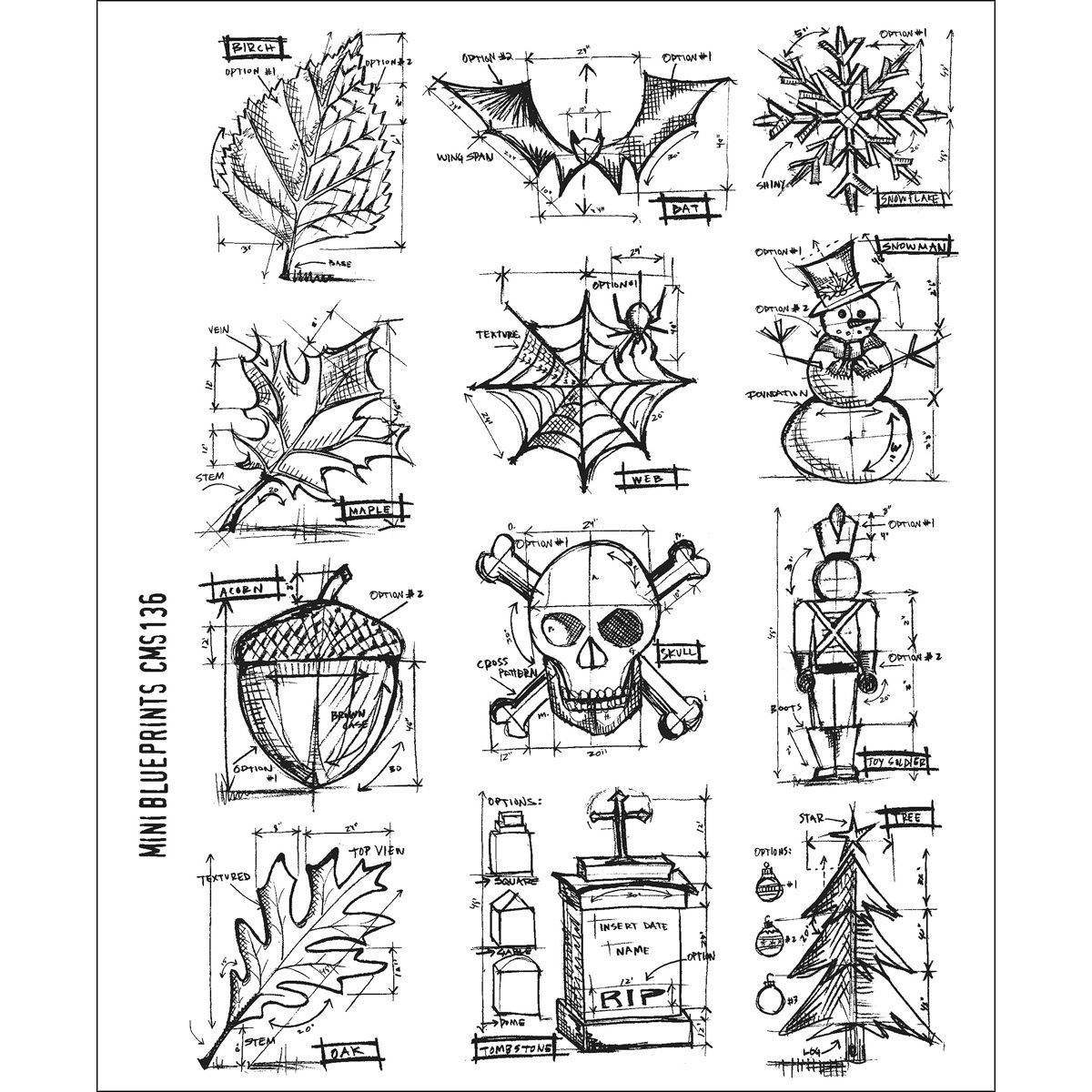 Tim holtz stampers anonymous large cling rubber stamp set mini tim holtz stampers anonymous large cling rubber stamp set mini blueprint paper crafting stamping malvernweather Images