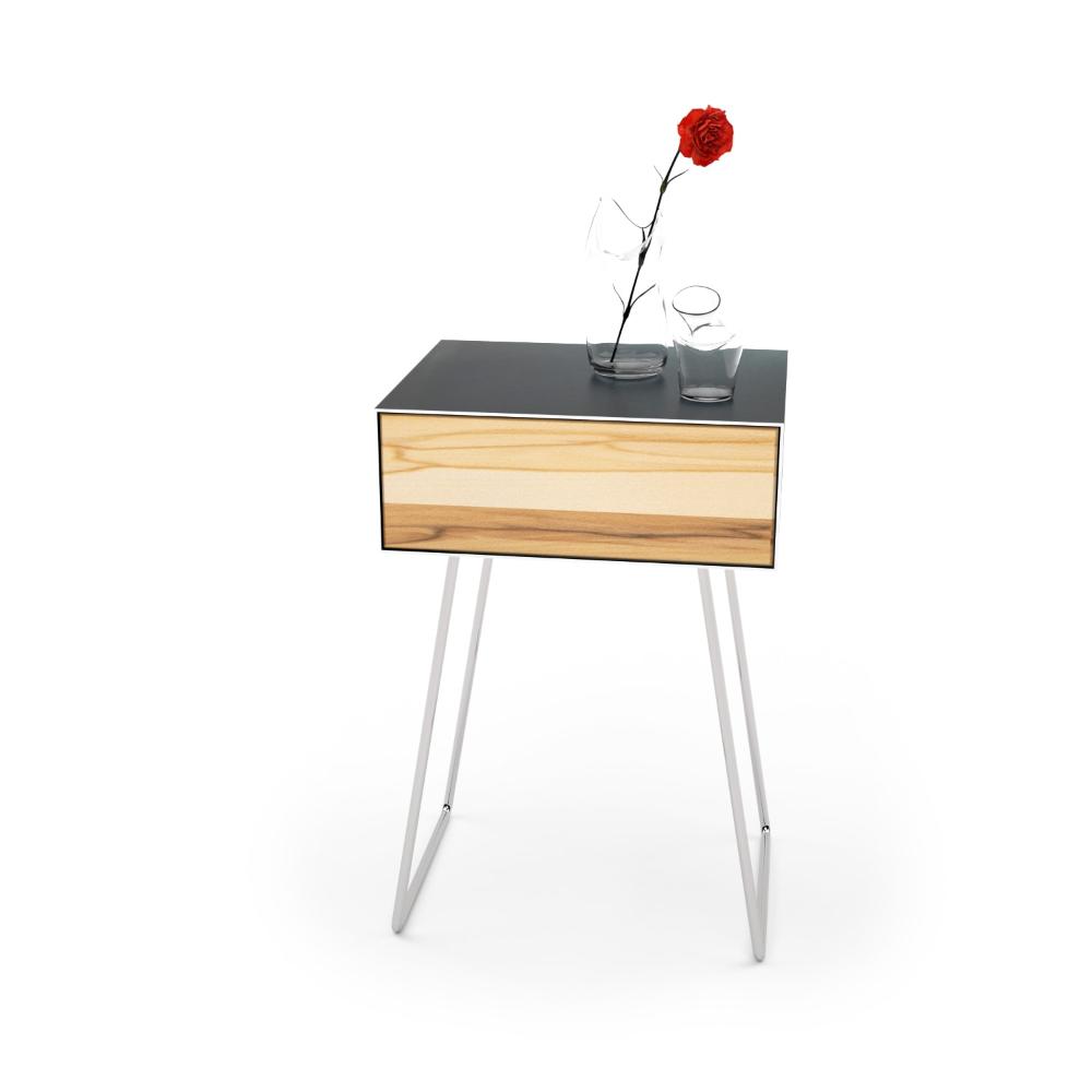 Nachttisch Floating mnmlsm (Holz, Metall, Rohstahl, Buche