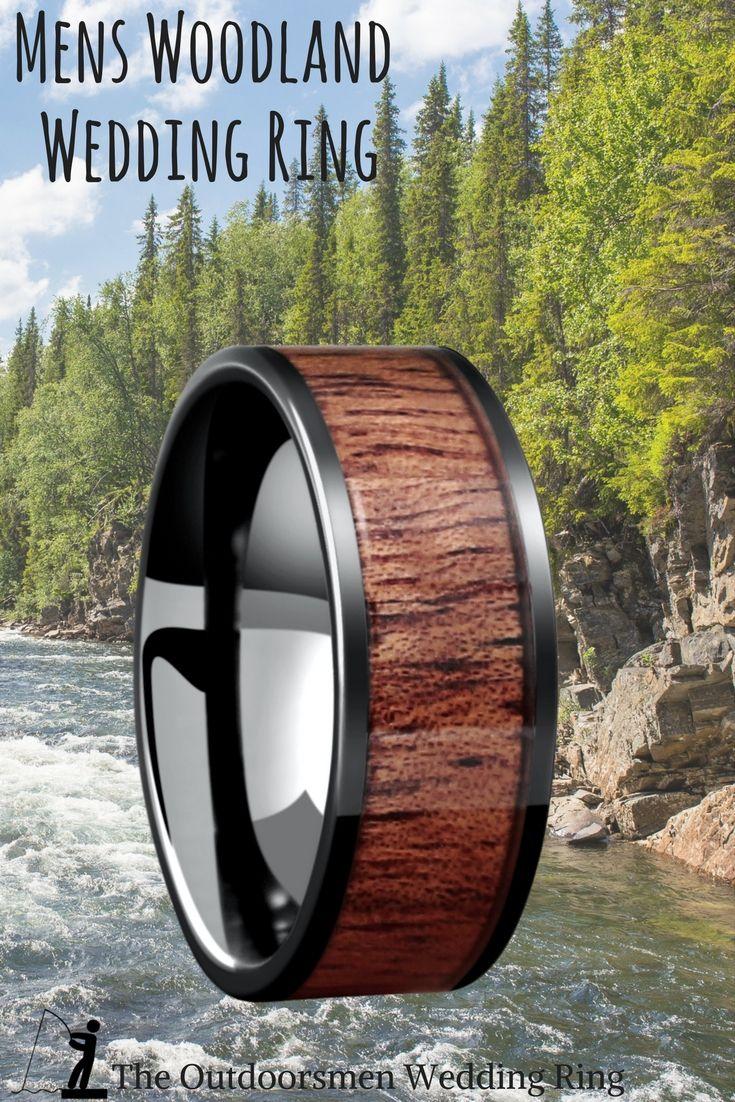 Muskoka Black Ceramic Wooden Ring (8mm Width) Wedding