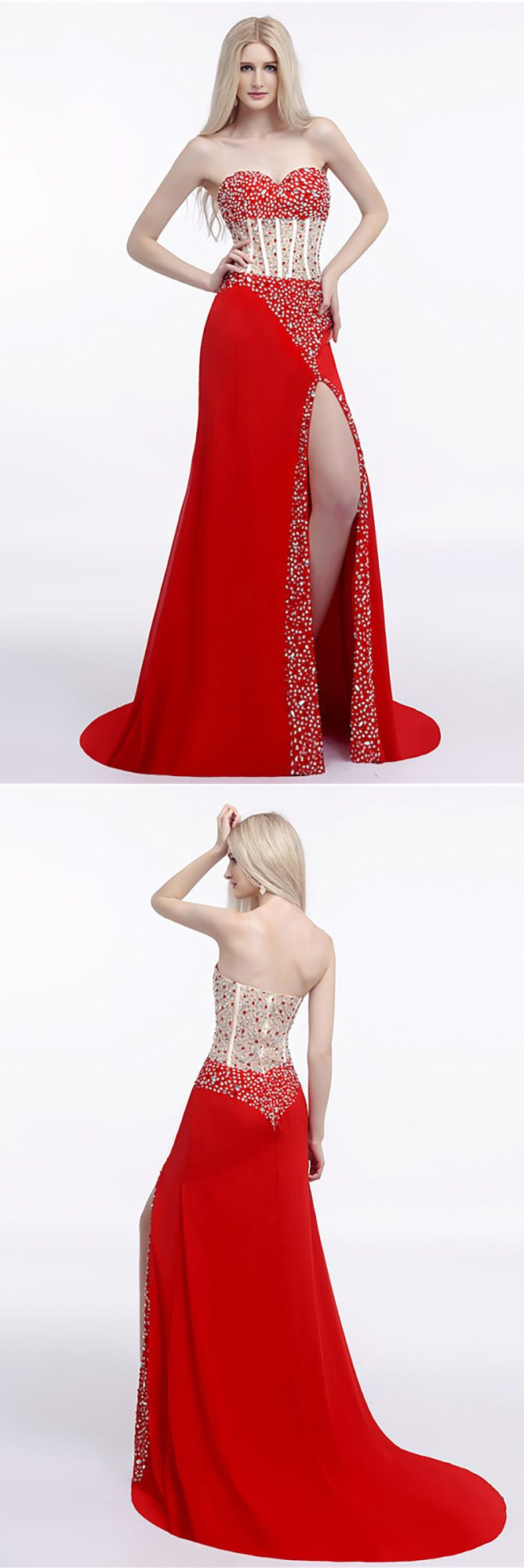 Sparkly sequined slit prom dress strapless red for women h