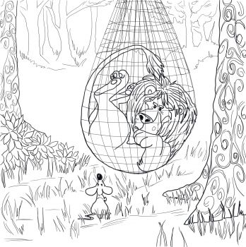 The Lion Trapped In The Net Coloring Page Super Coloring