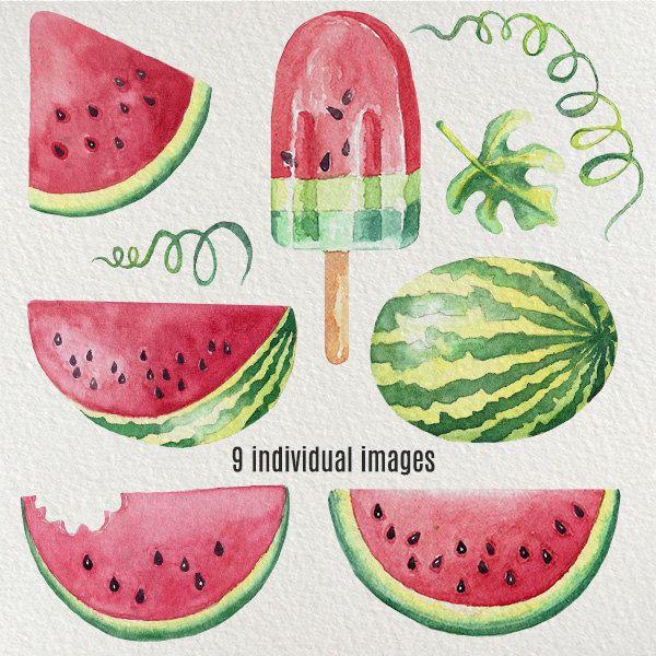 Photo of Vannmelon utklipp, håndmalt akvarell – fruktklippart, sommerbryllupsinvitasjon, vannmelongrafikk