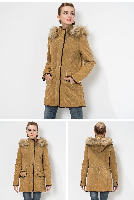 Detachable Faux Fur Hood Genuine Leather Jacket Leather