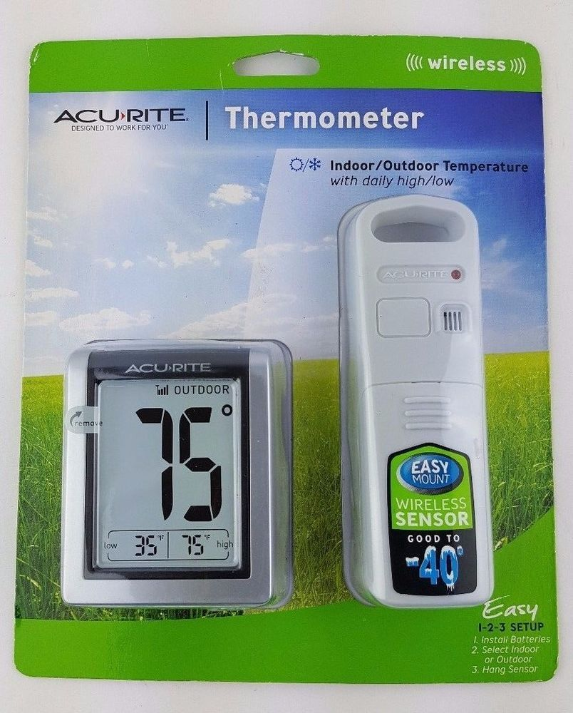 Acurite Digital Indoor Outdoor Wireless Thermometer 00380W with ...