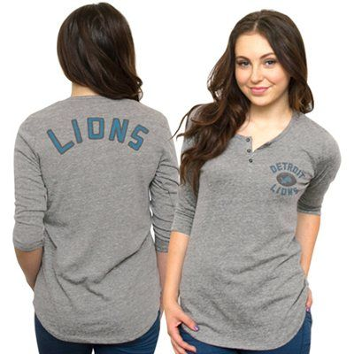 Junk Food Detroit Lions Ladies Halftime Tri-Blend Henley T-Shirt - Ash