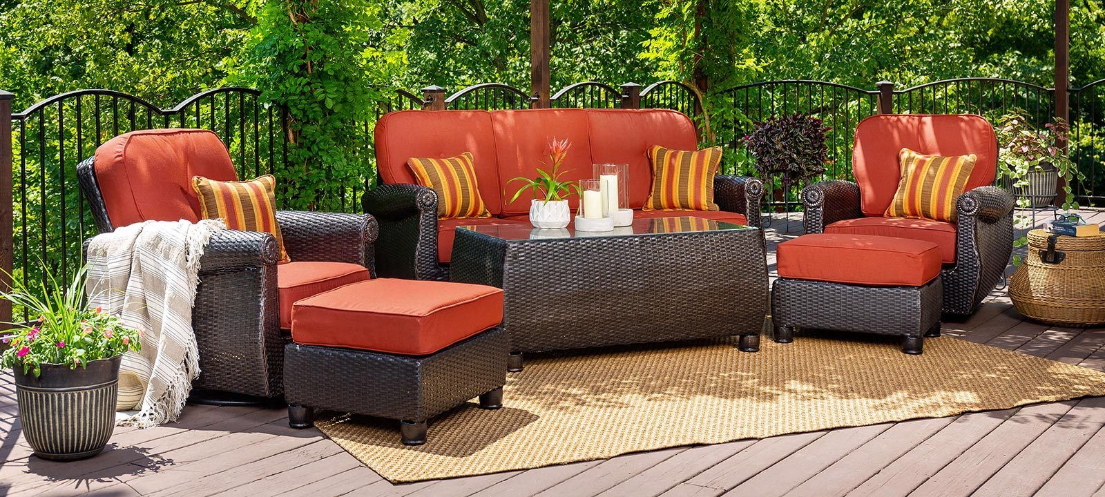 Breckenridge 6 Piece Patio Furniture Seating Set Two Swivel Rockers Sofa Coffee Table And Two Ottomans Brick Red In 2020 Black Patio Furniture Resin Wicker Patio Furniture Wicker Patio Furniture Sets
