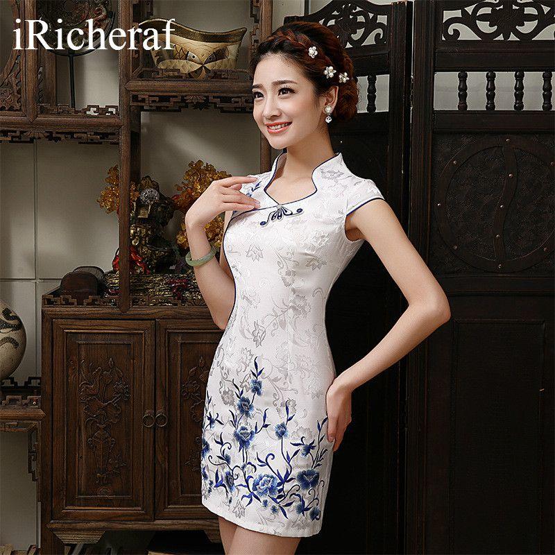 White Chinese Traditional Dress New Arrival Women Mandarin Collar Slim Low  Vents Cotton Cheongsam Short Qipao
