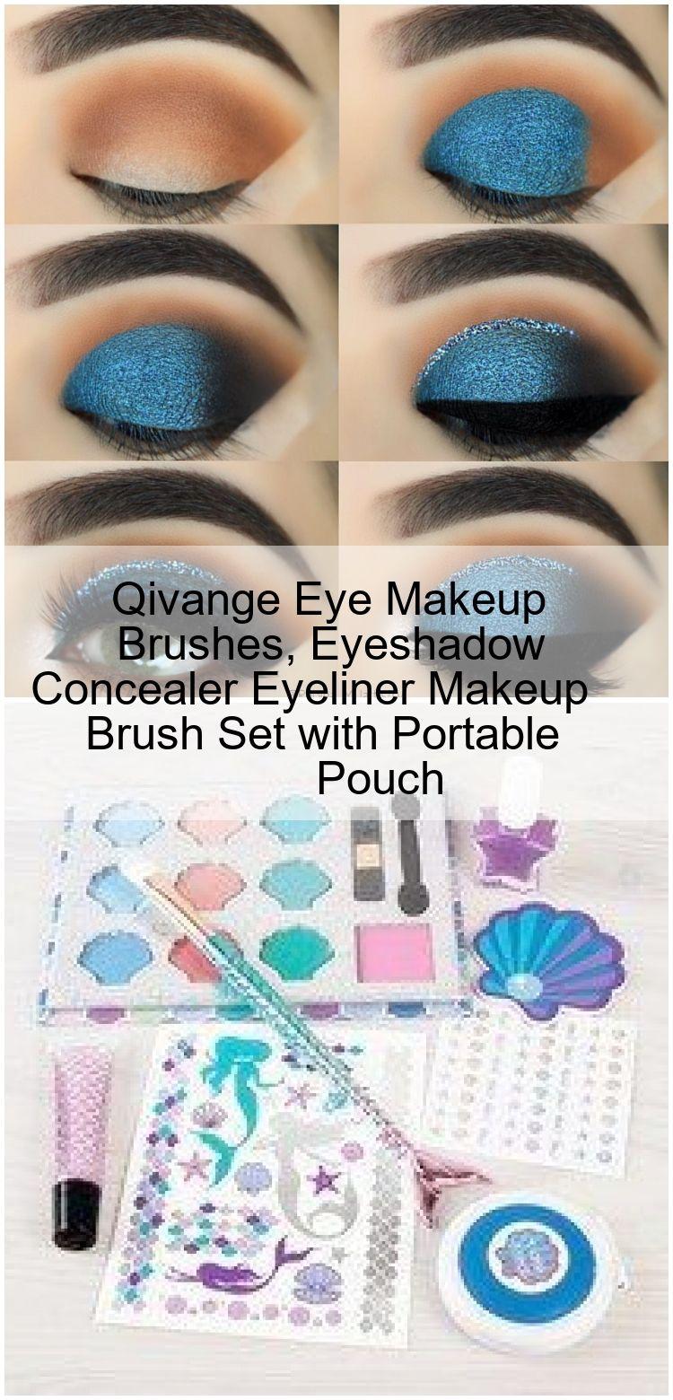 Qivange Eye Makeup Brushes, Eyeshadow Concealer Eyeliner Makeup Brush Set with Portable Pouch Qivan